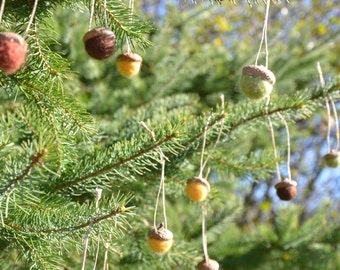 7 Needle-Felted Acorn Ornaments