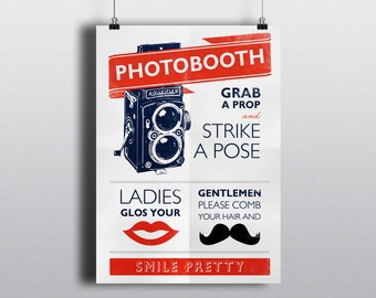 Vintage Photobooth Poster Sign (Instant download) - Grab a prop and strike pose