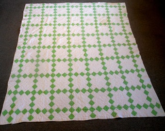 Vintage Green and White Quilt