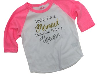 Unicorn - Mermaid shirt - Today I'm a Mermaid kids shirt 12-18m