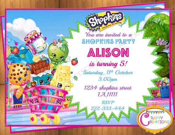 Shopkins Shoppies Birthday Invitation Shopkins Birthday
