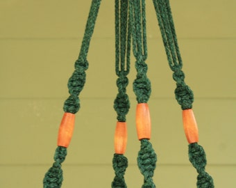 Antique Jade Macrame Plant Hanger with Brown Wooden Beads