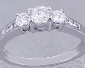 14k White Gold Round Cut Diamond Engagement Ring Prong and Channel Set 0.51ctw