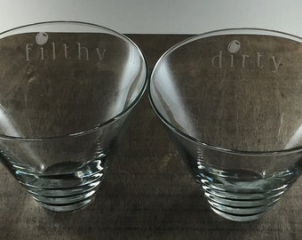 Set of etched stemless martini glasses- dirty & filthy