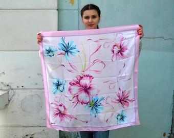 Vintage silk floral shawl, Square Silk Scarf, pink blue, moire Silk Shawl, flower garden, head scarf, beautiful shawl