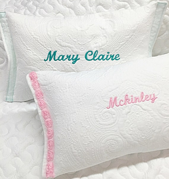 Personalized Girls Pillow Baby Pillow White Matlasse Pillow