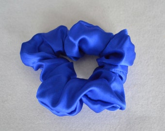 New Royal blue Pure silk hair scrunchie, 100% mulberry charmeuse, Hair Accessories Hypoallergenic Sensitive for hair care