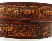 Name Belt.  Cattle Round Up  NBT105  Includes name in center back, utility buckle & leather keeper