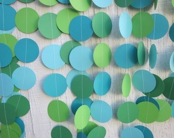 Turquoise and Green Paper Circles Garland, Birthday Party, Photo Prop, Little Mermaid, Frozen,  Under The Sea