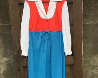Vintage 70's Patriotic Polyester Dress by JC Penny Loungewear size Medium