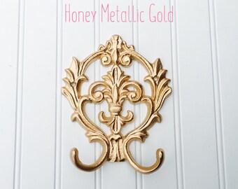Gold Double Hook - Entry Way Hook - Towel Hook - Nursery Decor - Shabby Chic Hook