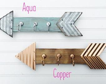 Arrow Hooks - Arrow Wall Decor - Arrows - Wooden Arrows - Metal Arrows - Bathroom Hooks - Jewelry Organizer