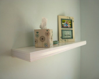 "Floating wall shelves, Semi gloss white 30""x8""(pictured), Double beaded decorative trim, Select Color, Length and depth,  4, 6 or 8-in deep"
