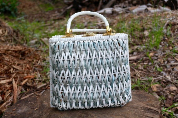 Bags By Donna White With Silver Blue Vintage Woven Wicker