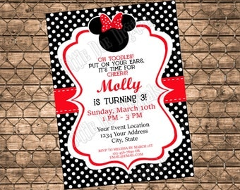 Personalized Minnie Mouse Themed Birthday Party Invitation - Digital File - Girl Invite - Black and Red Polka Dot Invitation - 5x7 or 4x6