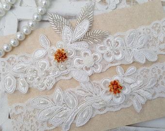 Pearl Beaded Lace Wedding Garter Set, Off White Lace Garter Set, Toss Garter, Orange Flower Bridal Garter, Orange Bridal Garter  -Style 830