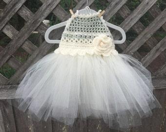 Summer dress, tutu, party dress, girl's dress with tulle, crocheted dress, flower girl dress, sundress, girl's clothing, tulle dress
