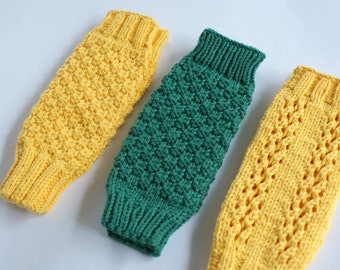 Baby Lag Warmers, Knit Baby Leg Warmers, Green Leg Warmers for Baby, Yellow Leg Warmers Knit, Newborn Leg Warmers