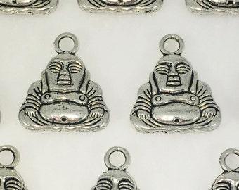 Buddha Antique Silver Tone Charms x10
