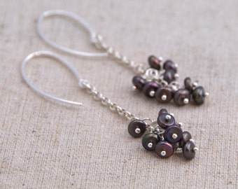 Brown Freshwater Pearl Cluster + Textured Sterling Silver Earrings