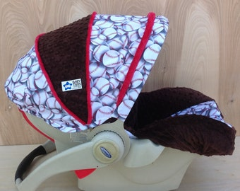 Infant Car Seat Cover- Baseballs/ Brown