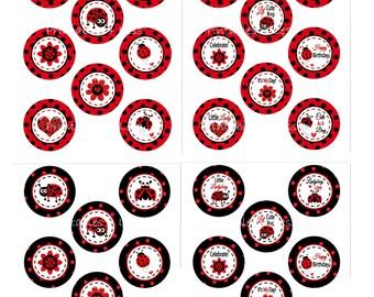 Ladybug Cupcake Topper, Red Black Ladybug Baby Shower Decor, Printable Ladybug Baby Cupcake, Red Ladybug Topper - Printables 4 Less 0051