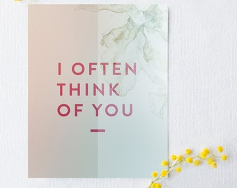 I often think of you typography poster, wall decor, typography quote print, poetry print