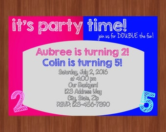 Pink & Blue Sibling Invitation - Twin Birthday Invitation - Split Invitation - DIGITAL - Sibling Invitation - Boy/Girl Party Invitation