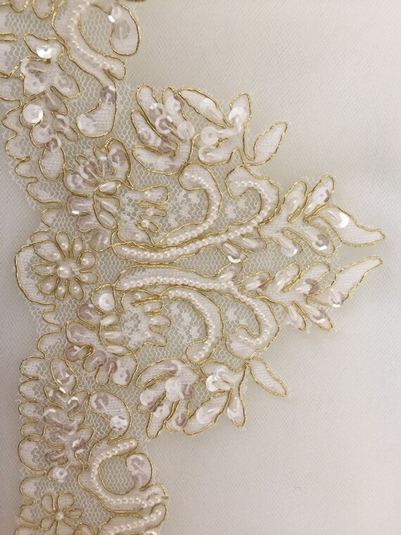 Lace Swatch, Ivory or Gold Beaded Lace, Veil, Beaded Lace Veil, Drop Veil, Mantilla, Wedding Veil, Bridal Veil, - THERESA Veil-Custom Veil
