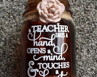 brown jar candle teacher gift teacher verse