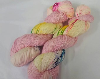 Pink Pixie Footprints Handdyed Sock Yarn