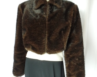 late 80s DON VITO fun faux fake fur chubby cropped bolero jacket/ mink  look: size M