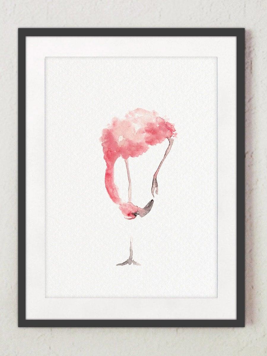 Abstract Flamingo Art Print Whimsical Animal Home Decor Pink