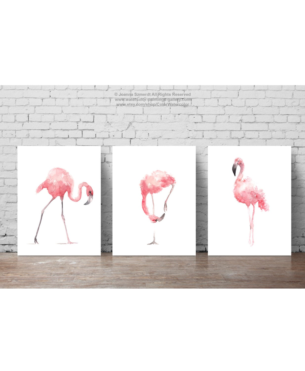 Pink flamingo set 3 art prints flamingoes whimsical tropical zoom amipublicfo Image collections