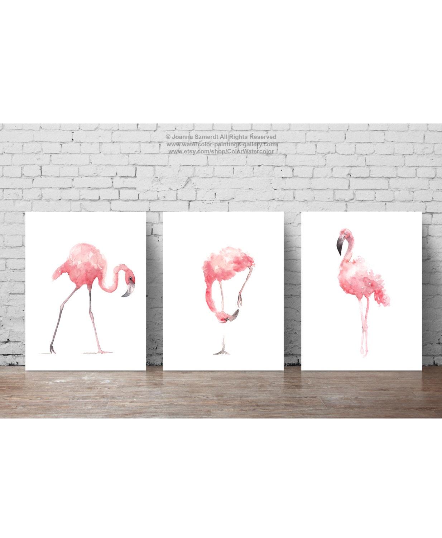 pink flamingo set 3 art prints flamingoes whimsical tropical artwork pink bird wall decor - Bird Wall Decor