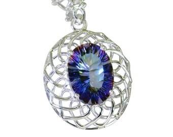 Mystic Quartz pendant,Silver Blue pendant, jewellery, SPBMQ 55008