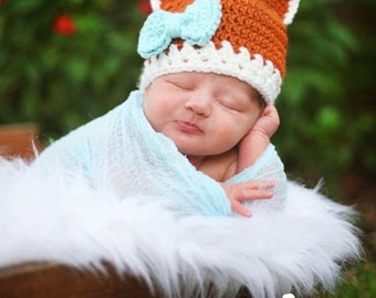 Fox Hat ~ Crochet Fox Beanie Hat ~ Crochet Fox Baby Girl Hat ~ Fox Boy Hat ~ Fox Halloween ~ Fox Outfit ~ Fox PhotoProp ~ Baby Fox Hat