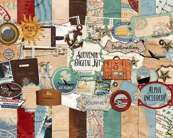 Souvenir Travel Digital Scrapbooking Kit, Vintage Summer, Holiday, Vacation, digital papers, old maps INSTANT DOWNLOAD digital scrapbooking