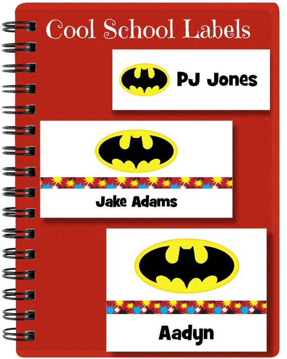 Batman Stickers, School Labels, Back to School, Super Hero, Personalized Stickers, Custom Labels, Tags, Personalized Labels