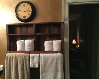 Reclaimed Wood Towel Rack Rustic