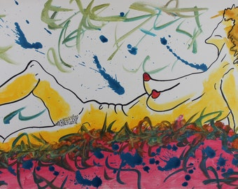 Bondage Femme en attente. Original Acrylic Painting on Canvas by Eric Lafoy