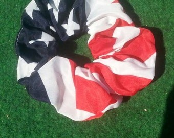 4th of July American flag scrunchie large