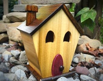 Handmade wooden decorative birdhouse, Unique nightlight, Birdhouse lantern, Cottage birdhouse
