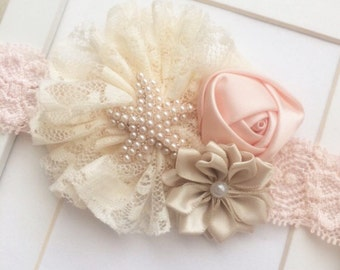 Peach,cream,and beige vintage inspired lace headband,starfish headband,newborn headband,flowergirl headband,rustic headband,baby headband