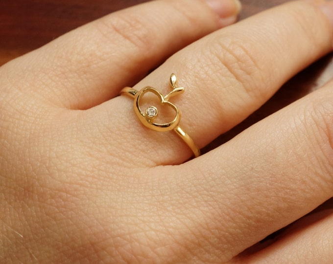 Unique Gold Diamond Ring-14k Yellow Gold Ring-Apple Dainty Jewelry-Fashion Jewelry-Girls ring-Fruit ring-Stackable ring-Statement ring