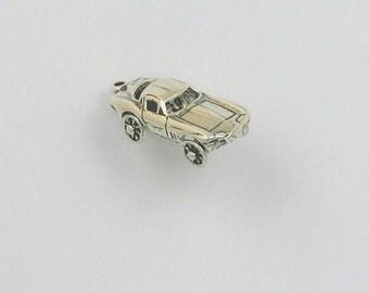 925 Sterling Silver Movable 3D Corvette Charm, Cars & Transportation - mov03