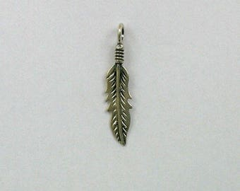 Sterling Silver 33mm Feather Charm