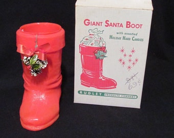 Vintage Giant Santa Boot Christmas Plastic Candy Container Original Box Rudley