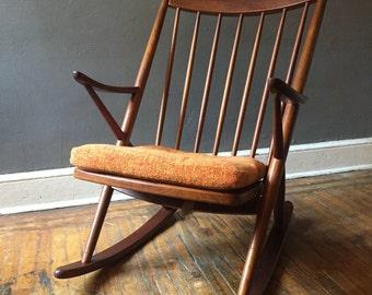Danish modern rocking chair Bramin Mobler by Frank Reenskaug mid century danish modern chair