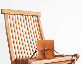 Vintage Courreges bag / camel leather crossbody bag